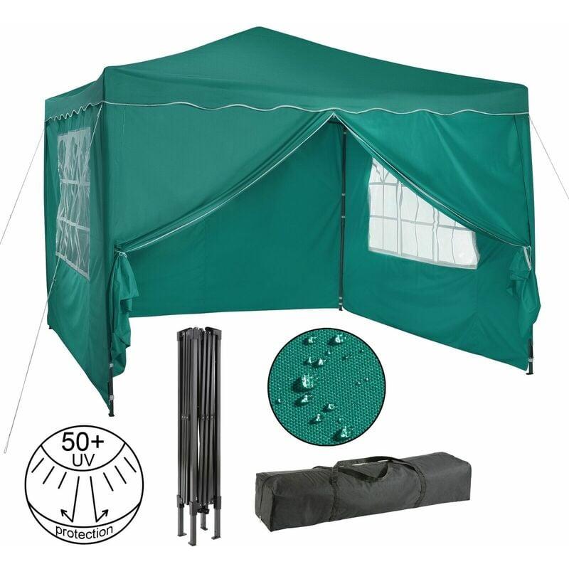 Pavillon pliable Tente de réception 3x3 m avec parois vert - Verde - Arebos