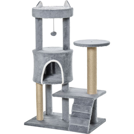 PawHut 100cm Cat Tree w/ Climbing Ladder Scratching Post Ball House Light Grey