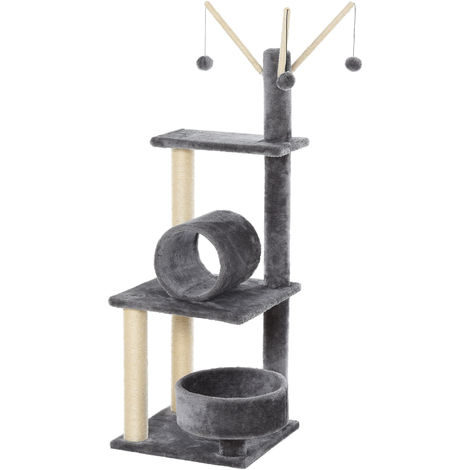 PawHut 121cm Plush Cat Activity Tree w/ Scratching Posts Tunnel Perch Cream
