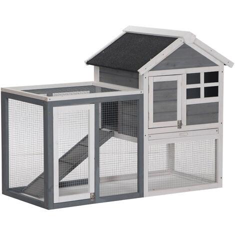 "main image of ""Pawhut 122cm Wooden Chicken Coop Rabbit Hutch Cage Pet House w/ Ladder Run"""