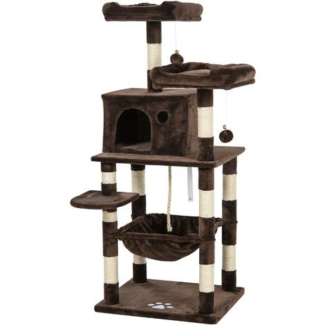PawHut 146cm Multi-Activity Plush Cat Tree w/ Hammock House Cushion Perch Brown