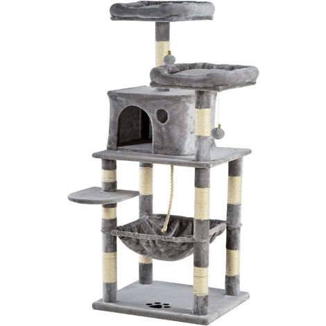 PawHut 146cm Multi-Activity Plush Cat Tree w/ Hammock House Cushion Perch Grey