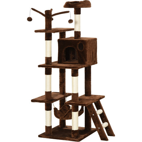 PawHut 155cm Deluxe Cat Tree Multi-Activity Pet Play House Perch Hammock Brown