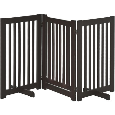 PawHut 155cm Expandable 3-Panel Freestanding Dog Pet Gate w/ Latched Door Brown