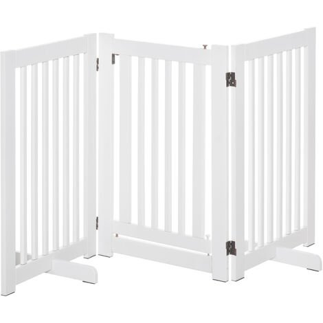PawHut 155cm Expandable 3-Panel Freestanding Dog Pet Gate w/ Latched Door White