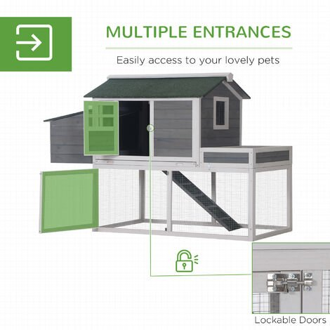 PawHut 160cm Wooden Backyard Chicken Coop w/ Nesting Box Run Area House