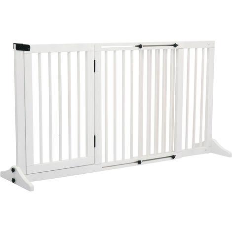 PawHut 166cm Adjustable Freestanding Wood Pet Gate w/ 3 Panels Door White