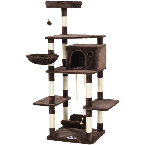 PawHut 170cm Plush-Covered Deluxe Cat Tree House Hammock Scratching Post Brown