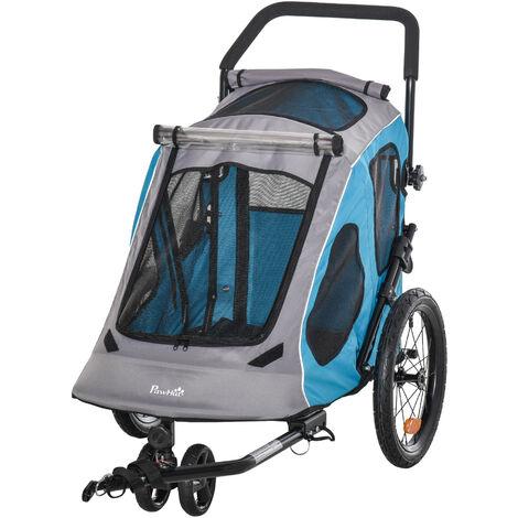 PawHut 2-in-1 Dog Bike Trailer Pet Carrier Stroller w/ Handle Reflector Blue