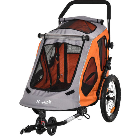 PawHut 2-in-1 Dog Bike Trailer Pet Carrier Stroller w/ Handle Reflector Red