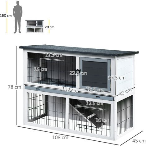 PawHut 2-Level Small Rabbit Hutch w/ House Outdoor Run Ramp Grey Black