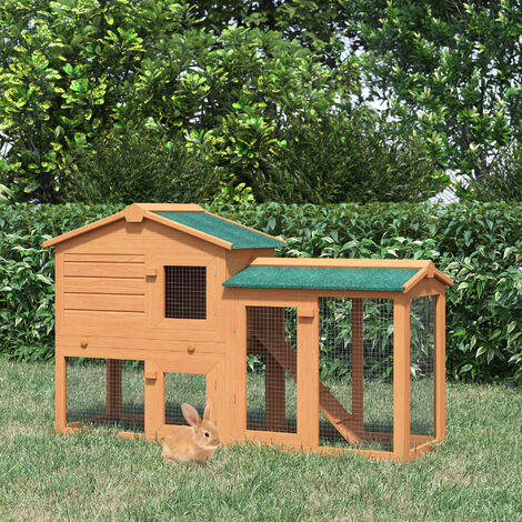 PawHut 2-Level Wood Rabbit House Hutch w/ Ourdoor Run Ramp 80x145cm Natural