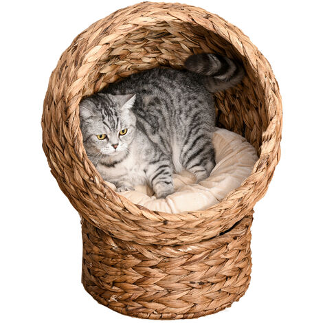 Pawhut 2-Position Woven Elevated Cat Kitten Pet Bed House Pod w/ Cushion