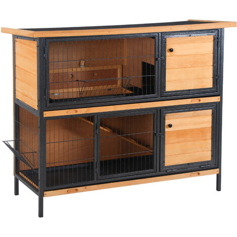 PawHut 2-Story Wood & Metal Rabbit Hutch w/ Ramp Feeder Asphalt Roof