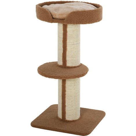 PawHut 2-Tier Cat Resting Activity Tree Tower w/ Scratching Post Perch Bed Brown