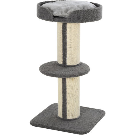 PawHut 2-Tier Cat Resting Activity Tree Tower w/ Scratching Post Perch Bed Grey