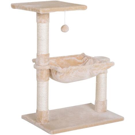 PawHut 2-Tier Cat Tree w/ Hammock Perch Play Ball Scratching Post Rest Play Beige