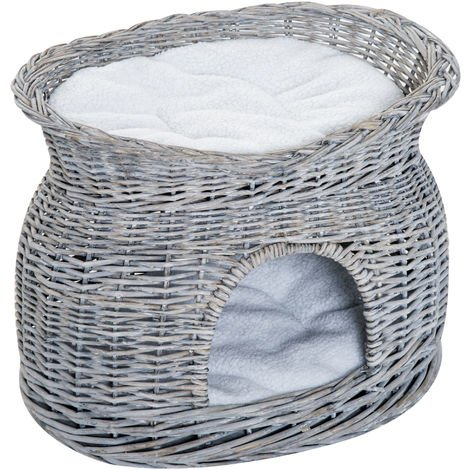 PawHut 2-Tier Elevated Pet Bed Basket Willow Cat Kitten Tower House Cave with Cushions