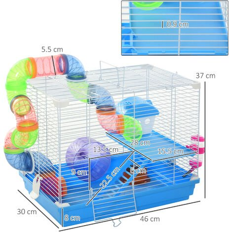 Pawhut 2-Tier Vibrant & Fun Hamster Cage w/ Tunnel Exercise Wheel Water Bottle