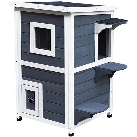 "main image of ""PawHut 2-Tier Wooden Cat Kitten Pet House w/ Opening Roof Window Shelter"""
