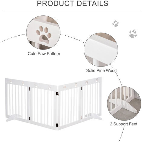 PawHut 204cm 4-Panel Wooden Pet Gate Dog Barrier Folding Fence w/ Support Feet