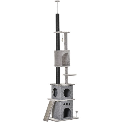 PawHut 255cm Floor-To-Ceiling Cat Tree Climber Scratching Post Adjustable Grey