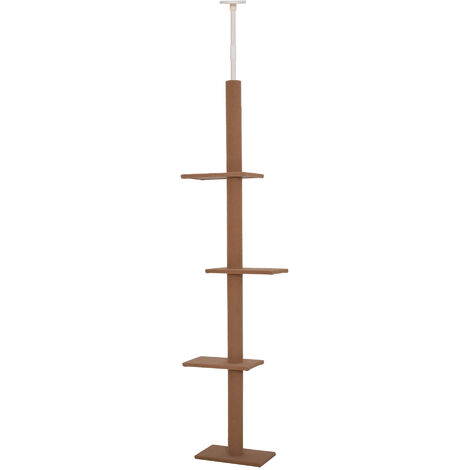 PawHut 260cm Wall-To-Floor Cat Climbing Tower Activity Perch Frame Brown