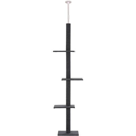 PawHut 260cm Wall-To-Floor Cat Climbing Tower Activity Perch Frame Grey