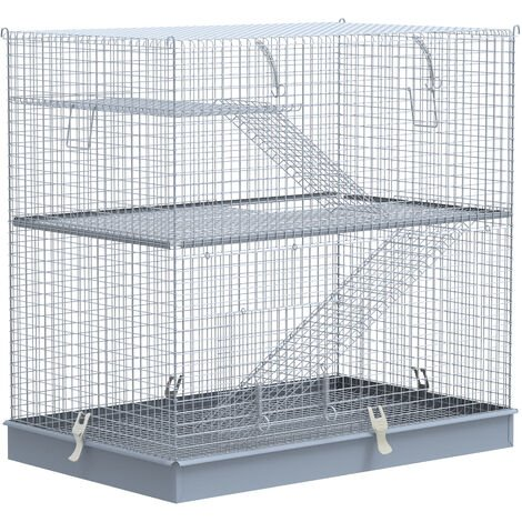 Pawhut 3-Level Metal Hamster Cage Small Animal Rat Hutch Easy Clip Base Ladder - Grey