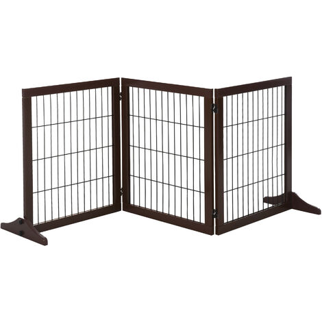 PawHut 3 Panel Wooden Pet Gate Indoor Foldable Dog Cat Barrier w/ Support Feet