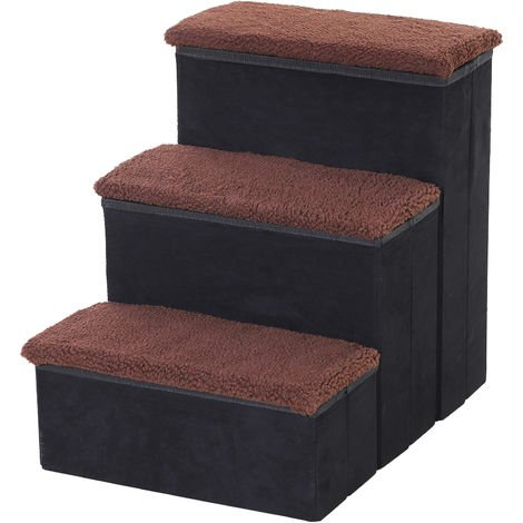 PawHut 3 Step Pet Stairs Washable Fleece Faux Suede Cover 41 x 19cm Black