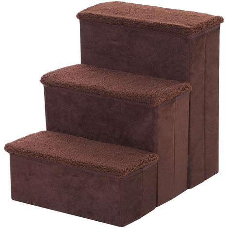 PawHut 3 Step Pet Stairs Washable Fleece Faux Suede Cover 41 x 19cm Brown