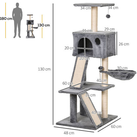 PawHut 3-Tier Cat Activity Tree w/ House Scratching Ladders Perch Sleep Basket