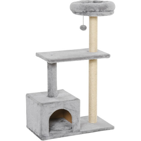PawHut 3-Tier Cat Tree Activity Play House Centre Pet Kitten w/ House Perch