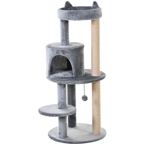 PawHut 3-Tier Deluxe Cat Activity Tree Scratching Posts Perch House Kitten Grey