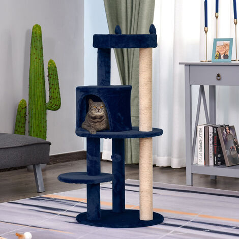 PawHut 3-Tier Deluxe Cat Activity Tree Scratching Posts Perch House Kitten Royal Blue