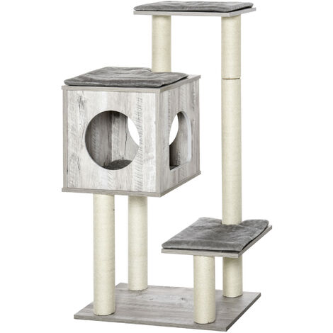 PawHut 3-Tier Modern Cat Activity Tree Tower Center Climbing Frame Kitten House