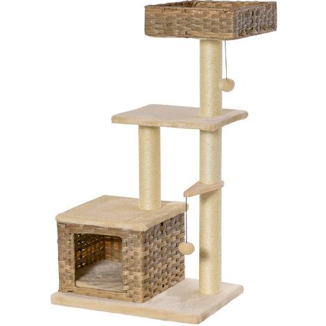 PawHut 3-Tier Rattan & Plush Cat Activity Tree Tower Centre Home Play Unit