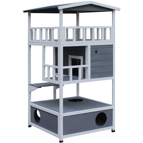 PawHut 3-Tier Wood Cat House w/ Tilted Roof Bottom Litter Tray Raised Base Grey White