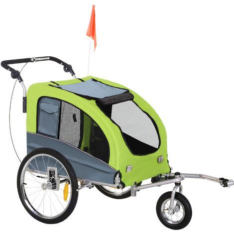 PawHut 3 Wheel Pet Small Dog Bicycle Trailer Carrier w/ Suspension Handlebar Green