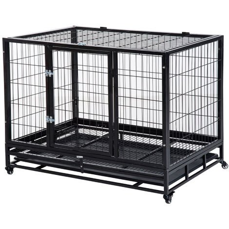 """main image of """"PawHut Heavy Duty Metal Dog Kennel Pet Cage with Crate Tray and Wheels Black"""""""