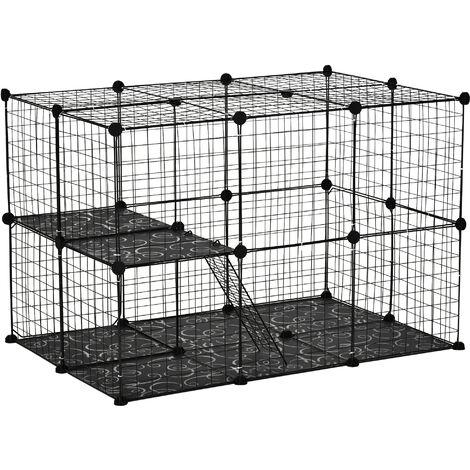 PawHut 39 Pcs Pet Cage DIY Small Animal Rabbit Chinchilla Home w/ Ramps Black