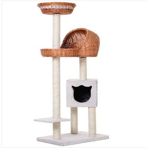 PawHut 4-Tier Cat Activity Tree Play w/ House Basket Scratching Post 1.3m