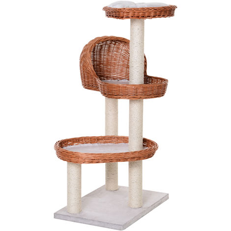 PawHut 4-Tier Cat Tree Activity Time w/ 1 Hut 2 Beds Scratching Posts Play Rest