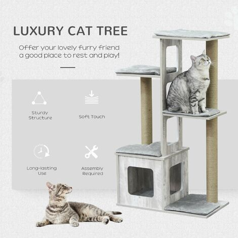 PawHut 4-Tier Modern Cat Activity Tree Tower Center Climbing Frame Kitten House