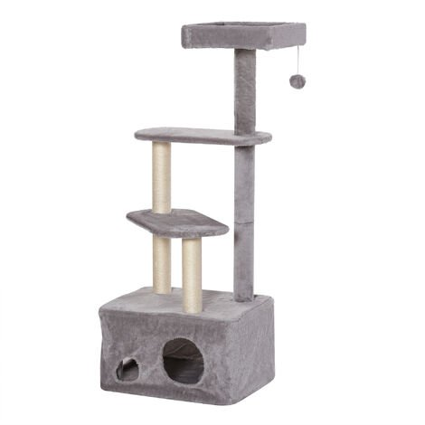 PawHut 4-Tier Relax & Play Cat Tree Kitten Tower Pet Furniture w/ Scratching Post