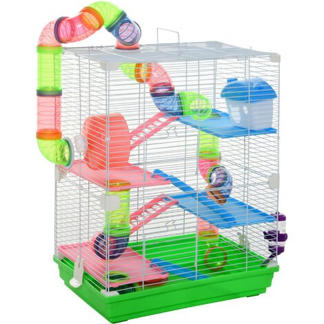 Pawhut 4-Tier Vibrant & Fun Hamster Cage w/ Tunnels Exercise Wheel House