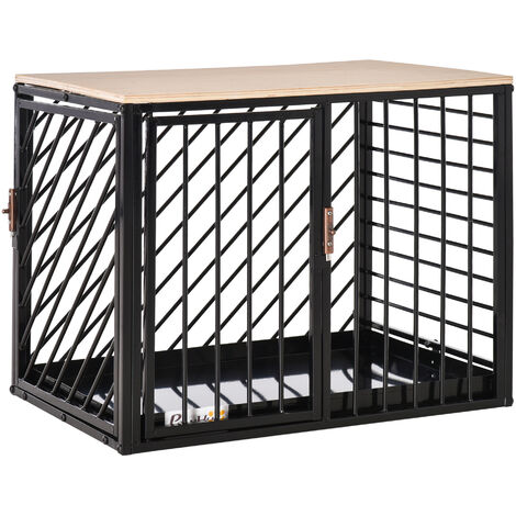 PawHut 44x61cm Steel Dog Crate Safe Kennel Cage Small Pet w/ 2 Doors Black