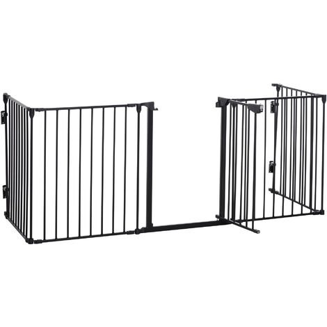 PawHut 5-Panel Metal Pet Safety Gate Fence Playpen Guard Fireplace Home