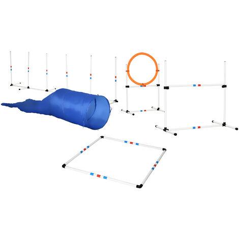 "main image of ""PawHut 5 Pcs Dog Pet Agility Training Set w/ Ring Poles Weaver Tunnel Outdoor Fun"""
